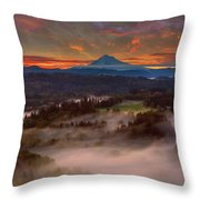 Sunrise Over Mount Hood And Sandy River Valley Throw Pillow