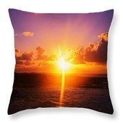Sunrise Over Ocean, Sandy Beach Park Throw Pillow