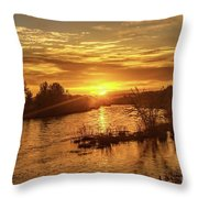 Sunrise Over  Payette River Throw Pillow
