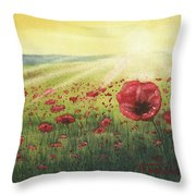 Sunrise Over Poppies Throw Pillow