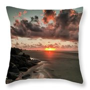 Sunrise Over The Beach Throw Pillow