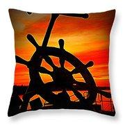 Sunrise Over The Captain's Wheel 2 Throw Pillow