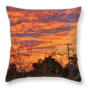 Sunrise Over The Wheat Fields Throw Pillow