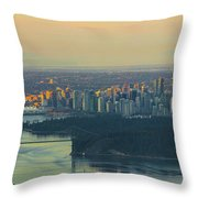 Sunrise Over Vancouver Bc And Stanley Park Panorama Throw Pillow