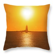 Sunrise Over Whaleback Light Portsmouth Nh New Hampshire Throw Pillow