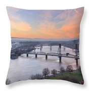 Sunrise Over Willamette River By Portland Throw Pillow