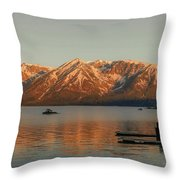 Sunrise Reflections On Colter Bay Throw Pillow