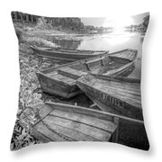 Sunrise Rowboats  In Black And White Throw Pillow
