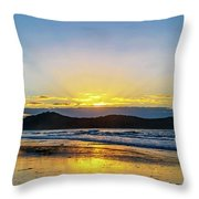 Sunrise Seascape And Crepuscular Rays Throw Pillow