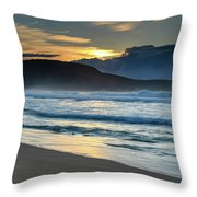 Sunrise Seascape With Headland And Clouds Throw Pillow