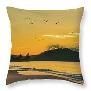 Sunrise Seascape With Mountain And Birds Throw Pillow