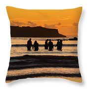 Sunrise Seascape With People Silhouettes Throw Pillow