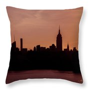 Sunrise Silhouette Nyc. Throw Pillow