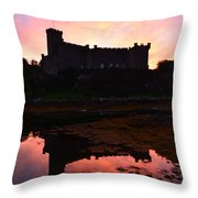 Sunrise Silhouetting Dunvegan Castle S Throw Pillow