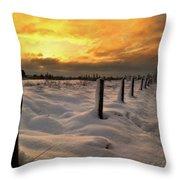 Sunrise Snow Fields Throw Pillow