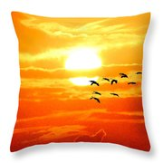 Sunrise / Sunset / Sandhill Cranes Throw Pillow