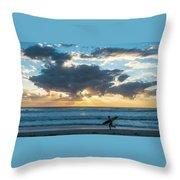Sunrise Surfer Running Delray Beach Florida Throw Pillow