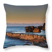Sunrise, The Sea And Tessellated Rock Platform Throw Pillow