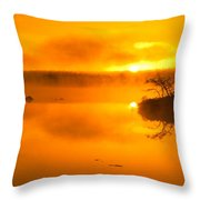 Sunrise Through Lake Mist Throw Pillow