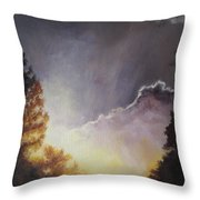 Sunrise Through The Pines Throw Pillow by Diane Kraudelt