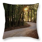 Sunrise Through The Woods Throw Pillow