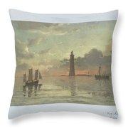 Sunrise To Painting By Frederick C. Sorensen, Anonymous, After Carl Frederik Sorensen, 1868 - 1876 Throw Pillow