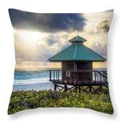 Sunrise Tower At The Beach Throw Pillow