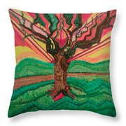 Sunrise Treeair Throw Pillow