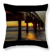 Sunrise Under The Pier  Throw Pillow