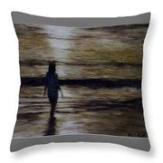 Sunrise Walk In The Sea Throw Pillow