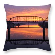 Sunrise Walnut Street Bridge 2 Throw Pillow by Tom and Pat Cory