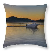 Sunrise Waterscape And Boat On The Bay Throw Pillow