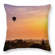 Sunrise With Balloons Throw Pillow