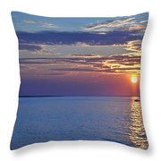 Sunrise With Boat Throw Pillow
