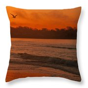 Sunrise With Seagull Throw Pillow