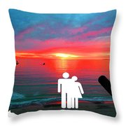 Sunrise With Shark Throw Pillow
