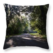 Sunrise,trees And Shadows Throw Pillow