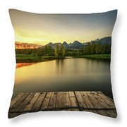 Sunset Above A Lake In High Tatra Mountains In Slovakia Throw Pillow