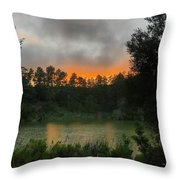 Sunset Above The Forest And Lake Throw Pillow