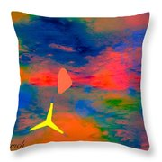 Sunset Abstract With Windmill Throw Pillow