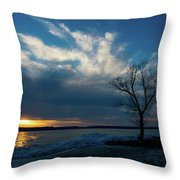 Sunset Along The Mississippi River Throw Pillow