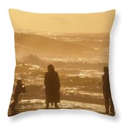 Sunset Along The Ocean East Of The City Throw Pillow