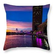 Sunset Along The Riverwalk Throw Pillow