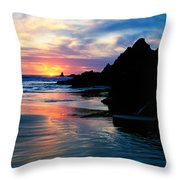 Sunset And Clouds Over Crescent Beach Throw Pillow