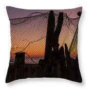 Sunset And Fishing Net Cape May New Jersey Throw Pillow