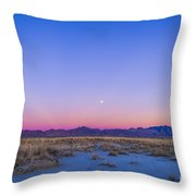 Sunset And Gibbous Moon Throw Pillow