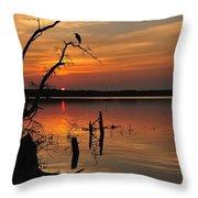 Sunset And Heron Throw Pillow