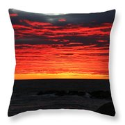 Sunset And Jetty Throw Pillow by William Selander