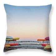 Sunset And Kayaks Throw Pillow