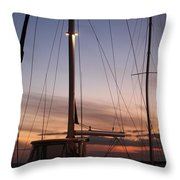 Sunset And Sailboat Throw Pillow